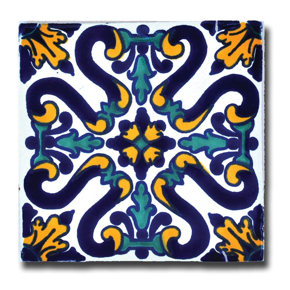 Blue yellow talavera tile southwest indian foundation 1875c sunflower talavera tile 700 southwestgetinventoryemname dailygadgetfo Images
