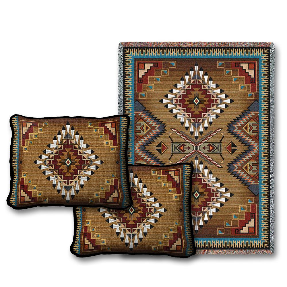 Throw Pillow And Blanket Set : Eagle Feather Throw Blanket & Two Pillow Set - Southwest Indian Foundation - 9598