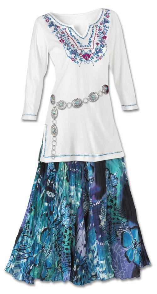 Floral Embroidered Tunic amp Watercolor Skirt Set