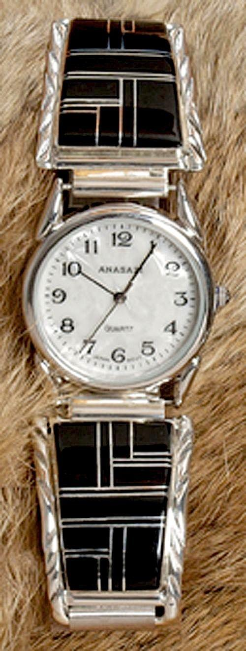 Mens Jet Inlay Watch Southwest Indian Foundation
