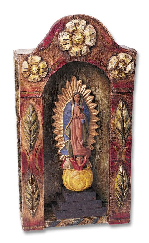 Our Lady Of Guadalupe amp Wooden Shrine Set Religious