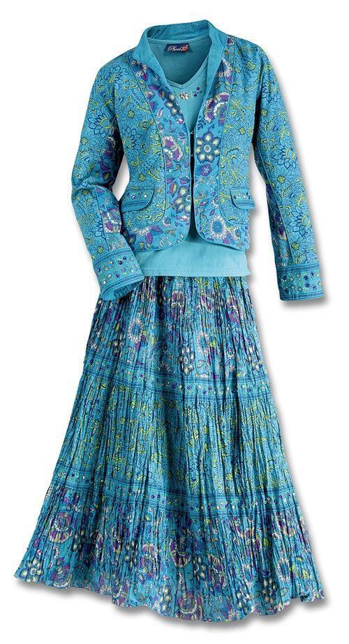 Pueblo Turquoise Top, Skirt & Jacket Set - Sets - Fashion ...