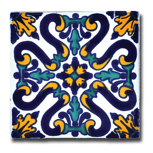 Blue Yellow Talavera Tile Southwest Indian Foundation C - Discount mexican tile
