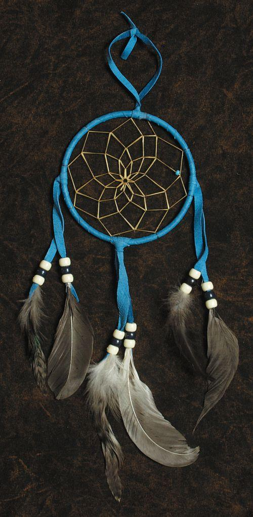 Blue Dream Catcher Hanging 4 Inch Southwest Indian