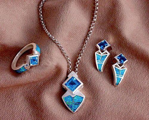 Blue Topaz and Opal Ring, Pendant & Earring Set