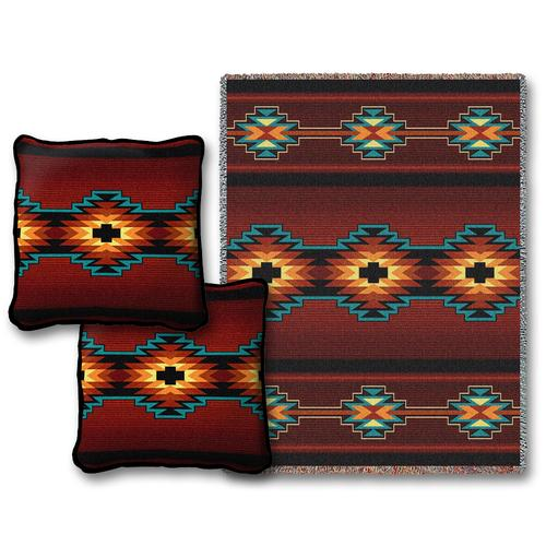 canyonlands throw blanket two pillow set southwest indian