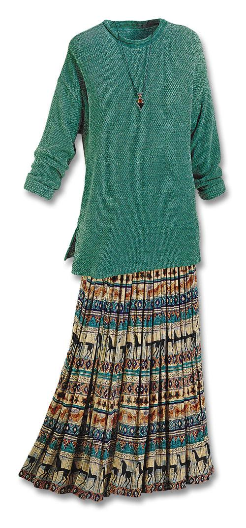 Chenille Sweater Amp Equine Skirt Set Sets Fashion