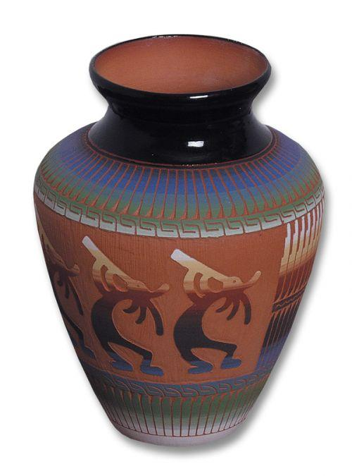 Etched Kokopelli Ceramic Pot Southwest Indian
