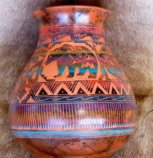 Lg Painted Desert Bear Pot Southwest Indian