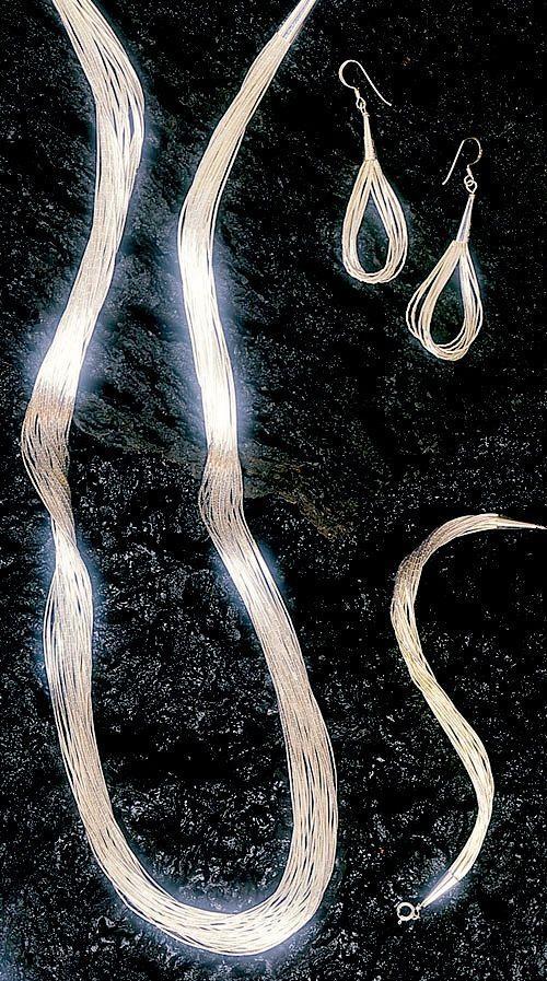 Liquid Silver Necklace, Bracelet & Earring Set