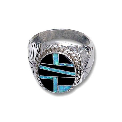 Mens Opal Jet Inlay Ring Rings Jewlery
