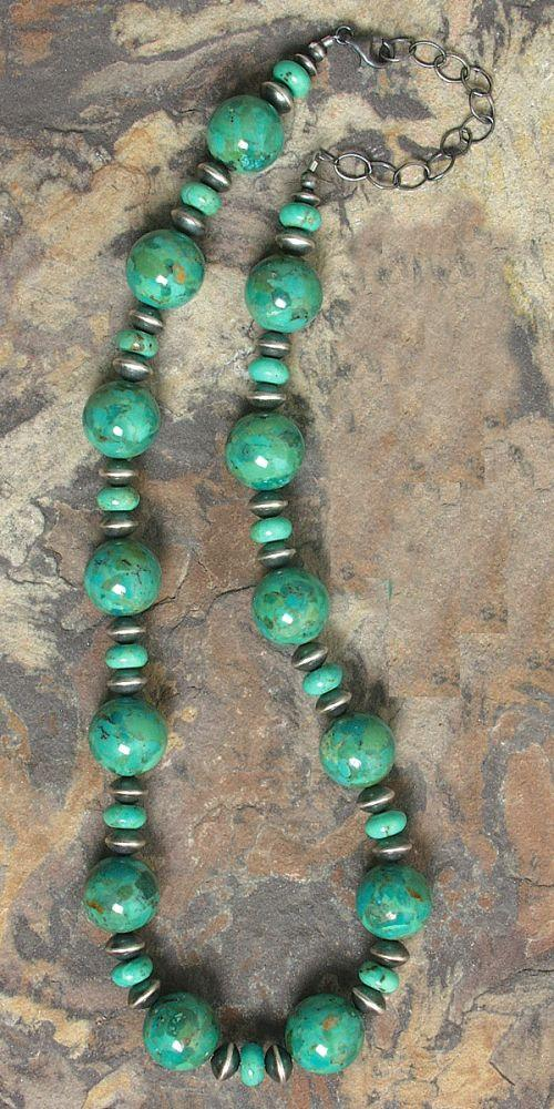 Mojave Green Turquoise Beaded Necklace Southwest Indian