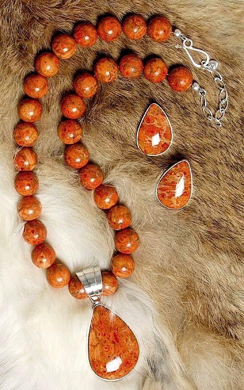 Orange coral necklacependant earring set southwest indian orange coral necklace pendant 19900 southwestgetinventoryemname mozeypictures Image collections