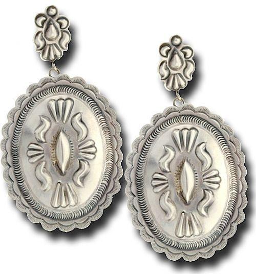 Plain Silver Concho Earrings