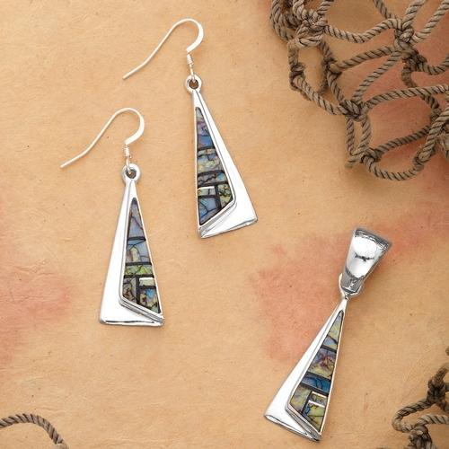 Spider Web Opal Pyramid Dangle Earrings and Pendant Set