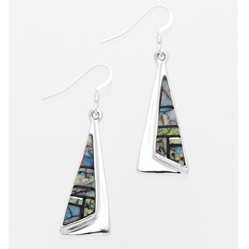 Spider Web Opal Long Pyramid Dangle Earrings - Southwest Indian
