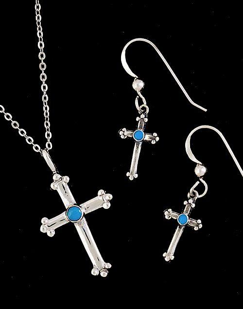 Sterling cross pendant earring set jewelry sets jewlery sterling cross pendant earring set aloadofball Choice Image