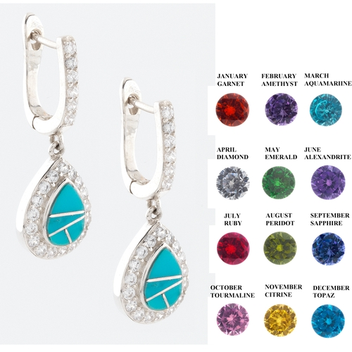 Turquoise And Birthstone Earrings