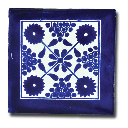 White Blue Talavera Tile